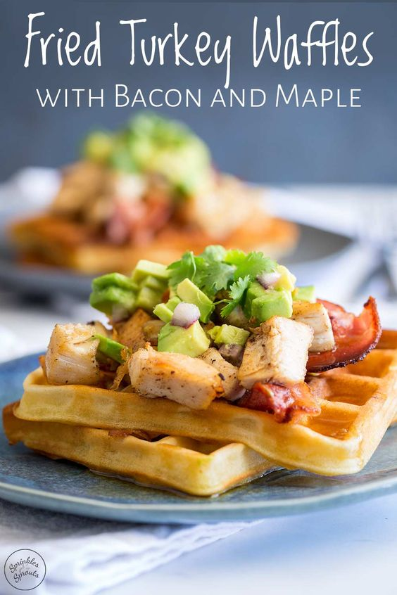 These Fried Turkey Waffles with Bacon and Maple are a fun way to use up Christmas or Thanksgiving leftovers. If fried chicken and waffles is one of your favorite breakfasts, then you are going to love these turkey waffles! The turkey is fried in bacon grease and served on maple syrup drenched waffles with crispy bacon and creamy avocado. If you are looking for ideas for what to do with leftover turkey then this recipe is going to make your mornings a whole lot better. #leftoverturkey #brunch