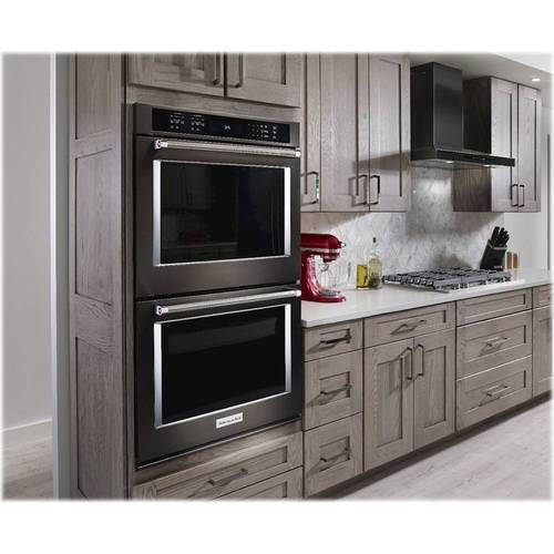 Kitchenaid 30 Built In Double Electric Convection Wall Oven Black Stainless Steel Kode500ebs Best Buy Electric Wall Oven Double Oven Kitchen Wall Oven Kitchen