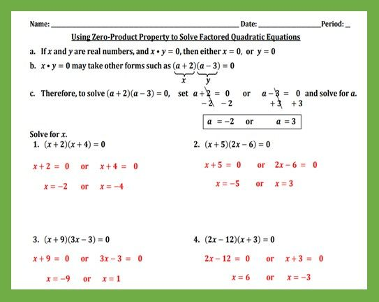 Using Zero Product To Solve Quadratic Equations Worksheet Teaching And Practice Quadratics Solving Quadratic Equations Quadratic Equations Worksheets Quadratic equations worksheets with