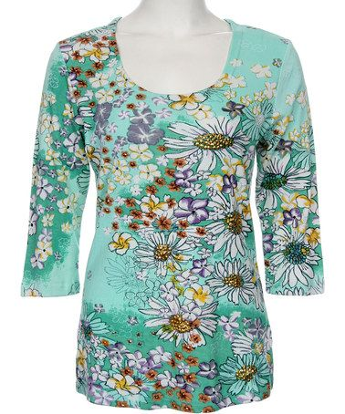This Sea Green Floral Scoop Neck Top - Plus by Le Mieux is perfect, $35 !!   #zulilyfinds