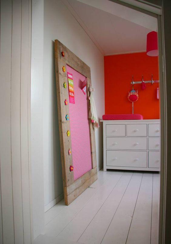 Label123 prikbord steigerhout extra groot xl 105x165cm roze - Tafel roze kind ...