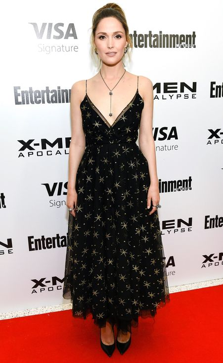 Rose Byrne in a star-printed black Valentino dress: