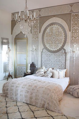 Chic Vintage Moroccan Wedding Blanket from M.Montague. Make your bedroom a dream.(emma)