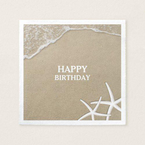 Starfish Beach Theme Happy Birthday Paper Napkins Zazzle Com