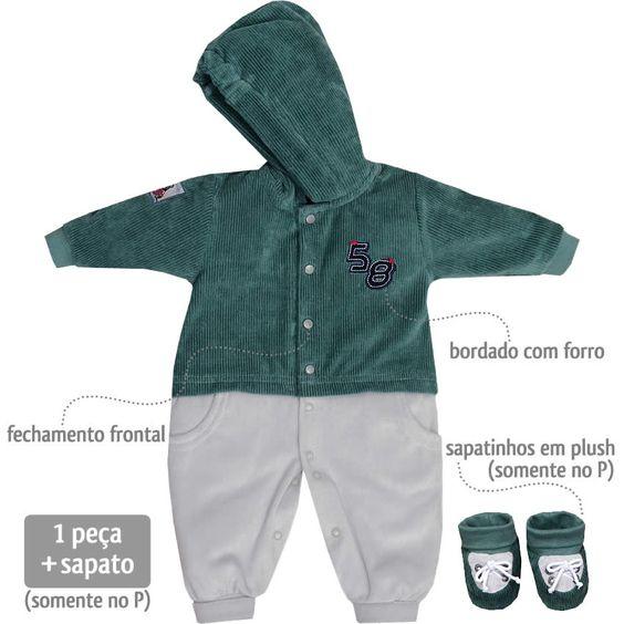 Macacão em Plush para Bebê Menino com Capuz Verde - Sonho Mágico :: 764 Kids | Roupa bebê e infantil