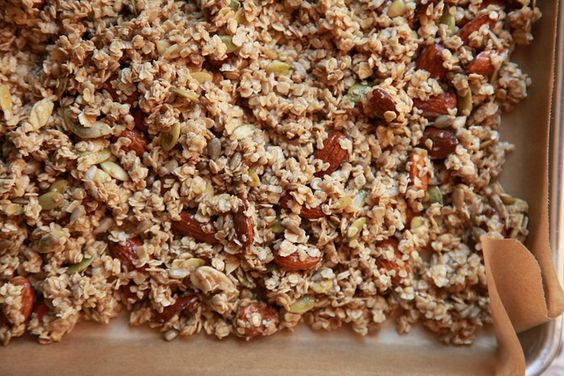 granola made with coconut oil and honey instead of butter and brown sugar.  Think I'll make this!