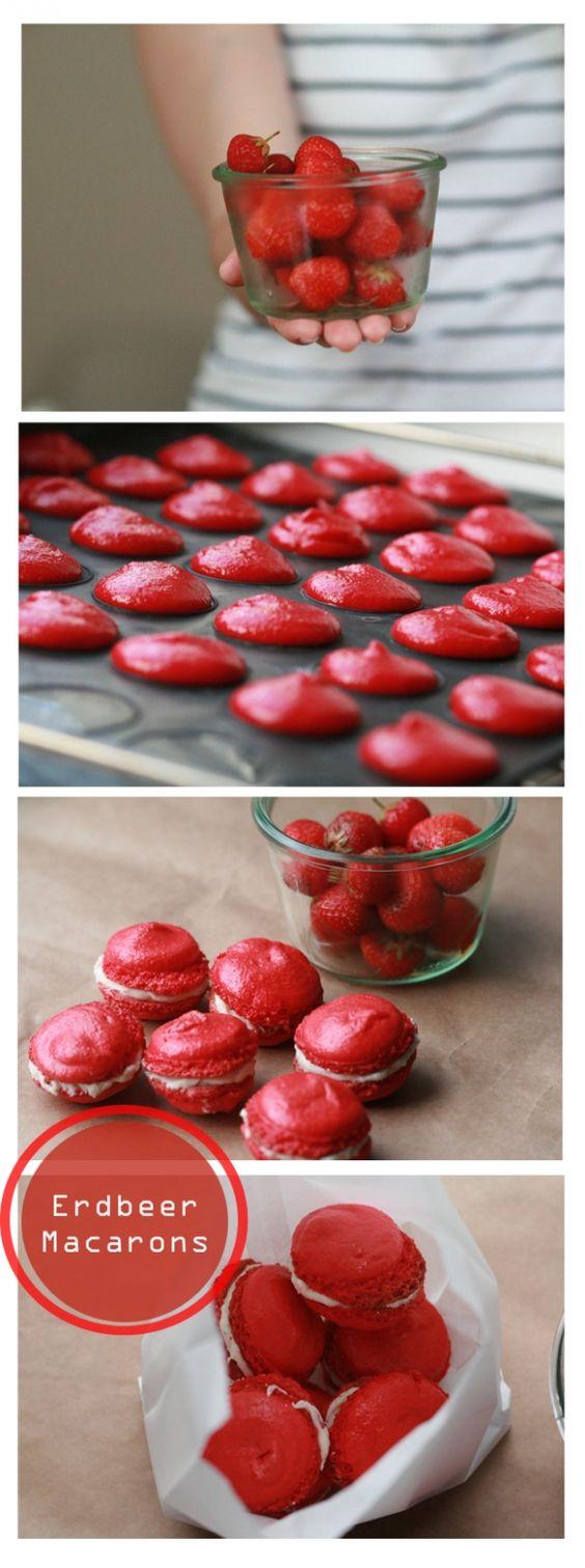 Erdbeer-Macarons mit Schokoladen-Erdbeer-Füllung
