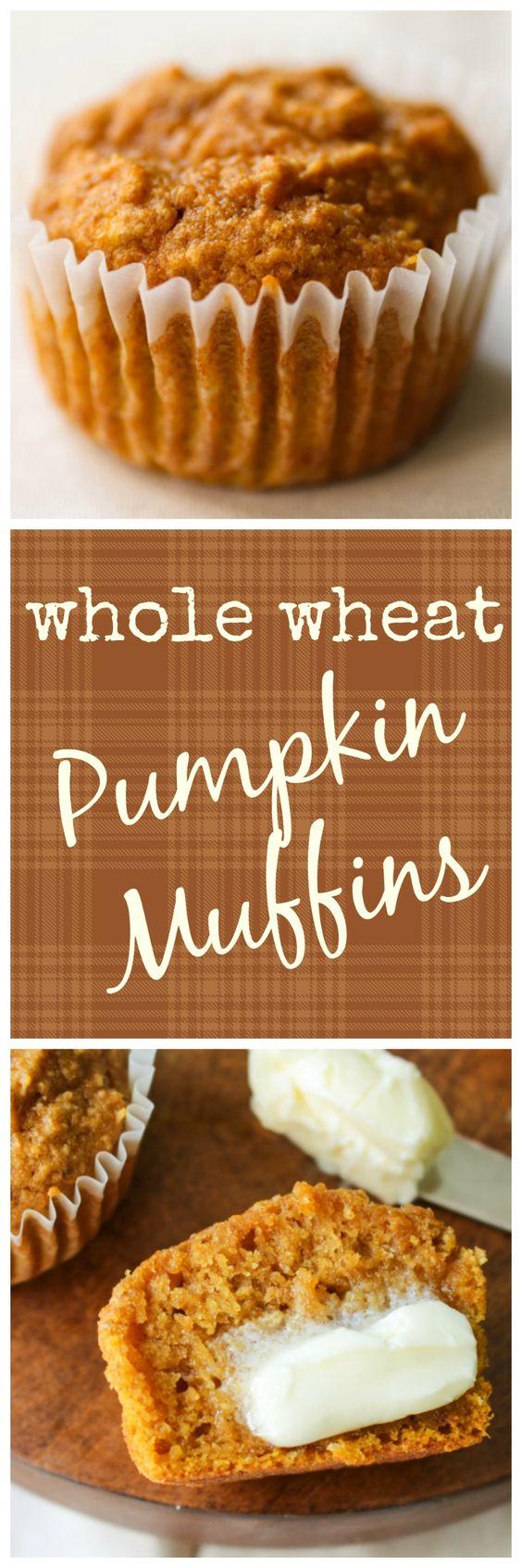 Whole Wheat Pumpkin Muffins | Recipe | Pumpkins, Pumpkin muffin ...