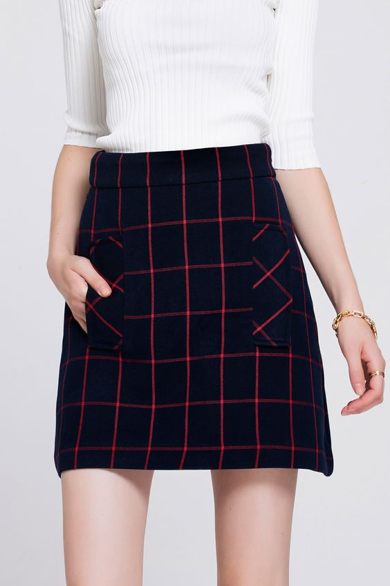 A Line Plaid Skirt