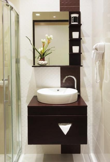 Powder bathroom remodeling and vanities on pinterest for Powder room vanities for small spaces