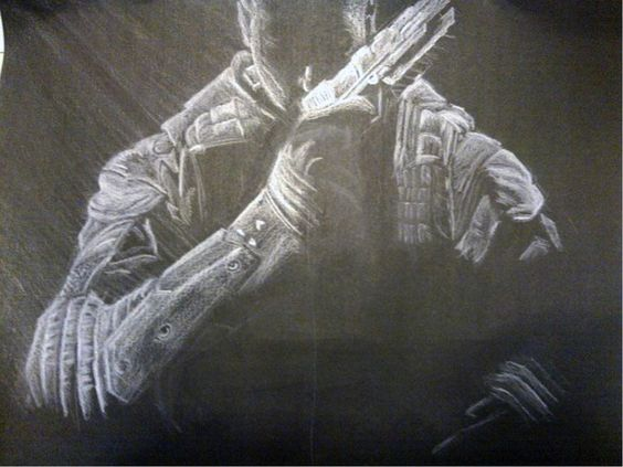 "Título: ""Call of Duty Black Ops II"" Autor: Cristofer Alan Angeles Soreano Técnica: Dibujo con lápiz blanco"