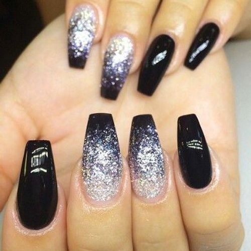 Best Ombre Nails For 2018 48 Trending Ombre Nail Designs Black Nails With Glitter Prom Nails Nail Designs Glitter