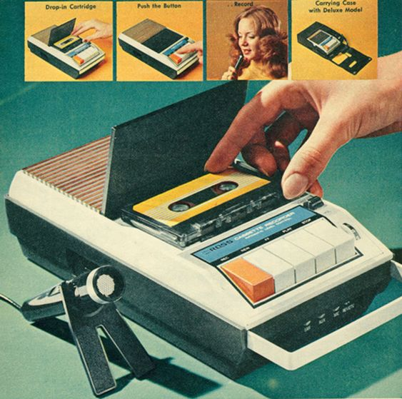 CASSETTE RECORDER 1970s... I remember thinking that mic was so cool :)