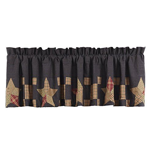 Vhc Brands Americana Classic Country Kitchen Window Curtains Arlington Tan Block Border Valance Learn More By Visiting The Im Valance Curtains Lined Curtains
