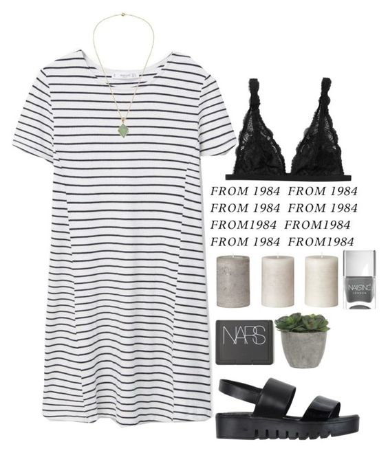 """""""Untitled #1272"""" by mel5-973 ❤ liked on Polyvore featuring Jeffrey Campbell, MANGO, Monki, Nails Inc., NARS Cosmetics and Lux-Art Silks"""