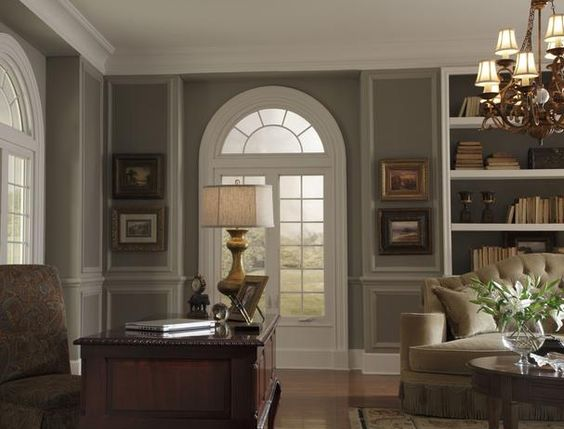 7 Interior Design Styles: Interior Design, Colonial Office, Wall Color, Decorating Ideas, Home Office, Formal Living Rooms, Crown Molding, Design Styles