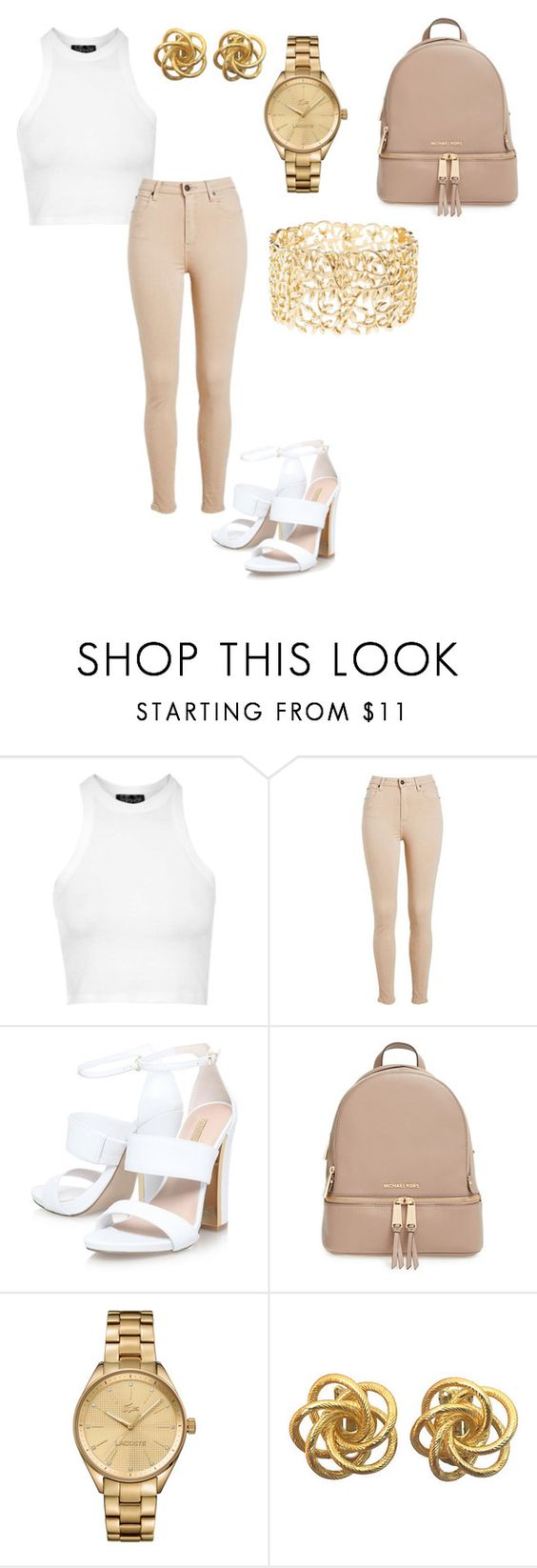 """""""Gold me up"""" by blessedtdlee3 ❤ liked on Polyvore featuring Topshop, MICHAEL Michael Kors, Lacoste and Charlotte Russe"""