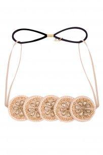 Peach Metal Beads Circular Disc Elasticated Head Wrap #hairdramacompany #perniaspopupshop #accesories #new #shopnow #happyshopping
