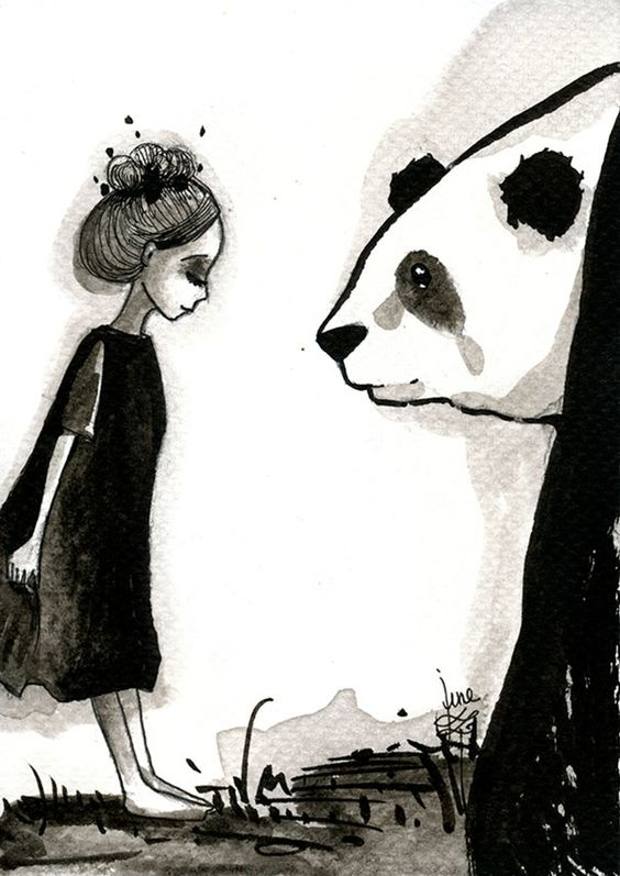 Panda & Maiden Ink Illustrations: I Never Used Ink Before And I Truly Enjoyed It   Bored Panda