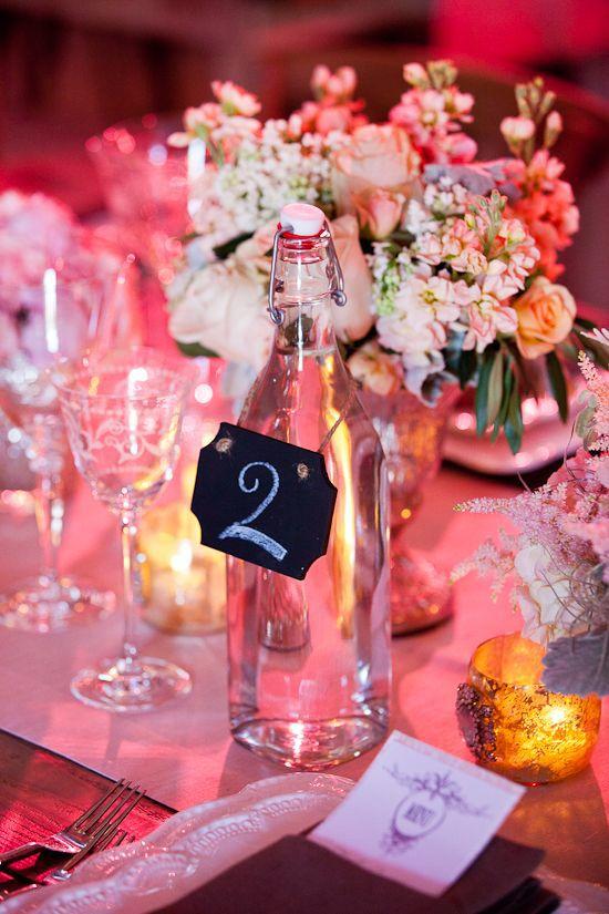 oh!myWedding: Botellas de agua en los centros de mesa
