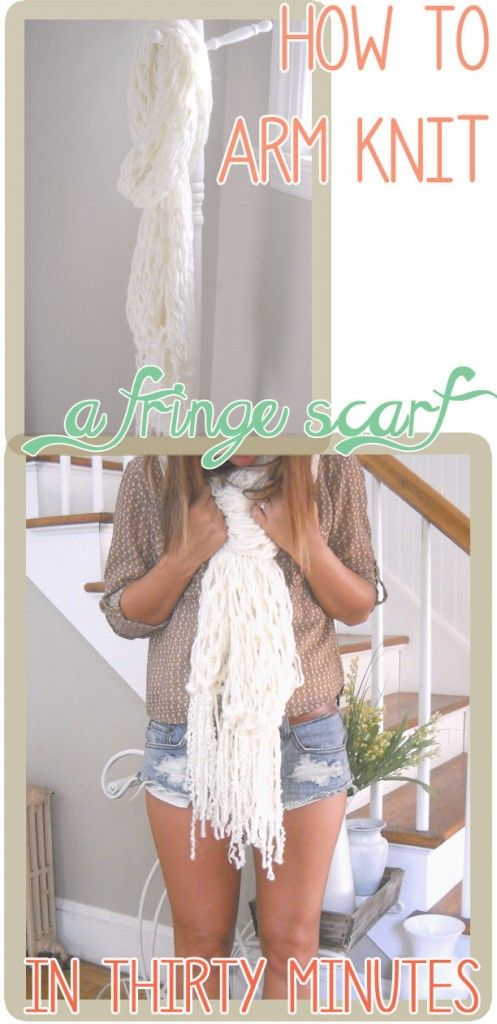Arm knit a fringe scarf in 30 minutes! Video tutorial included. www.SimplyMaggie.com