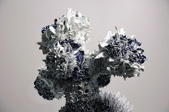 Israeli artist Zemer Peled creates beautiful organic forms out of porcelain shards and clay.