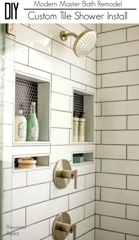 Learn how to overcome the daunting task of building, waterproofing, and installing a custom tile shower yourself. #DIYshowerremodel. #diytutorial #diyideas #diyprojects #diyinspiration #diy