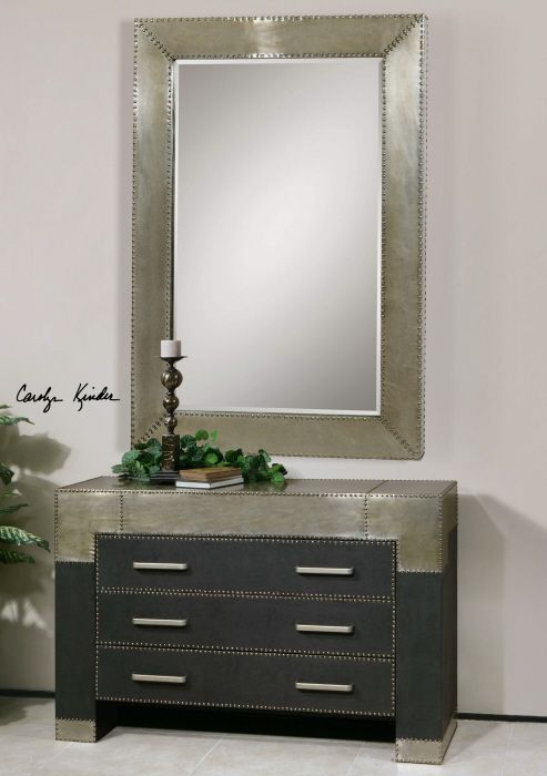 Lightly stained silver champagne aluminum frame with - Decorative trim for bathroom mirrors ...