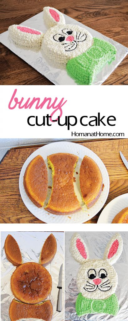 Use two round cakes to make the cutest bunny cut-up cake around! Free printable templates make this project super easy. Perfect for Easter!: