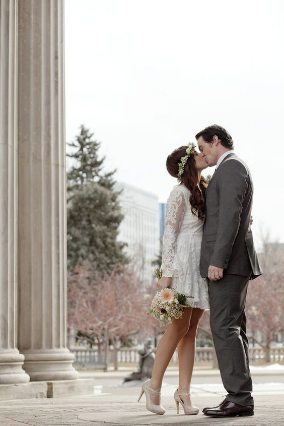 Courthouse wedding elopements and denver on pinterest for Simple dress for civil wedding
