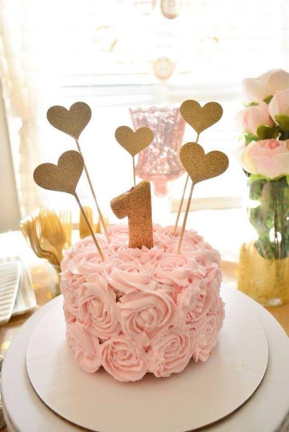 Pink Rosette 1st Birthday Cake: