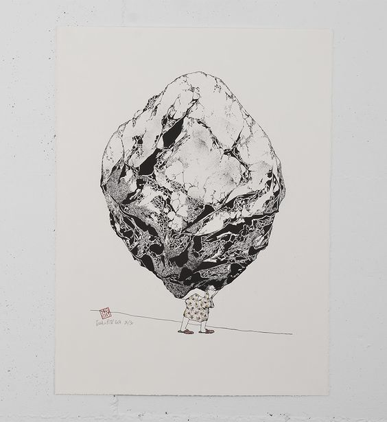"""Entitled """"Le poids des choses"""", this 1 color stone lithography by Ella & Pitr is enhanced by the artists. After printing, they paint over each copies, creating unique works of art. Made in june 2014, it's an edition of 30 + 5 artist's proof. It is signed and numbered by the artists. Format : 22 x 29,5 inches (56 x 75 cm). The work comes with a certificate of authenticity."""