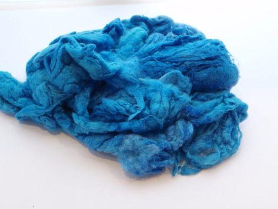 Blue silk noil