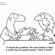I found the problem. We earn money 5 days a week, but spend money 7 days a week.