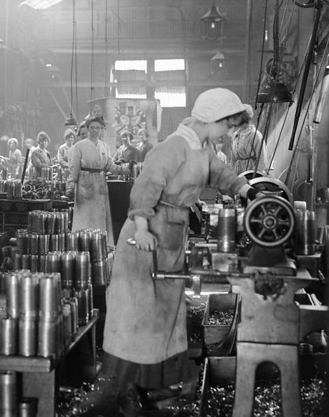 WWI Munitions Factories in the UK - here, Woolwich Arsenel. Conditions were poor, and the work was arduous. Some women worked 13 days of 12 hour shifts without a break. Although figures were suppressed to keep morale high, accidents were common. An explosion at a TNT plant in 1917 in East London killed 73 people and destroyed hundreds of homes. Dangerous chemicals caused health problems that lasted long after the war. More at link!