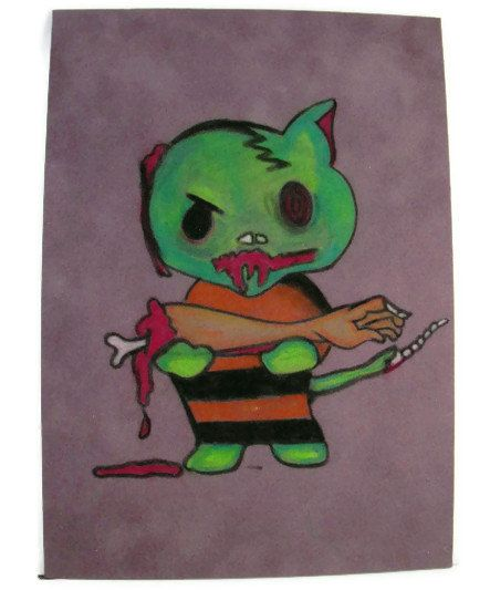 Original Pastel on Suede Drawing Zombie Hello Kitty by ilovemy1984, $25.00