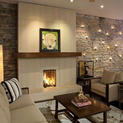 Textured Wall Behind Smooth Tile Of Fireplace Creates