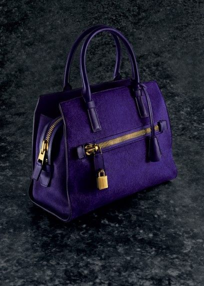Tom Ford Medium Charlotte Tote In Haircalf With Gold Tone Zipper Lock