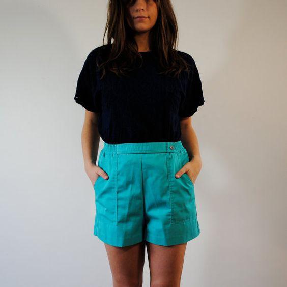 vintage shorts / high waist teal shorts m by maisondhibou on Etsy, $24.00