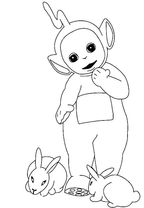 Teletubbies Laa Laa And Two Rabbit Coloring For Kids