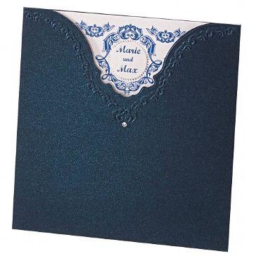 """Hochzeitseinladung """"Megan"""" - blaue Karte zu Ihrer Hochzeit - weddix"""