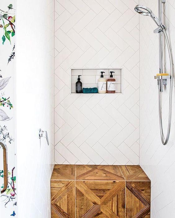 Bench, herringbone tile // modern bathroom