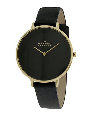 skagen s leather black and gold with a