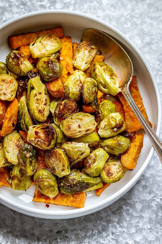 Oven-Roasted Brussels Sprouts and Sweet Potatoes