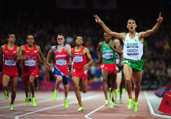 Taoufik Makhloufi of Algeria wins the gold in the men's 1500-meter final on Aug. 7. (Streeter Lecka/Getty Images)