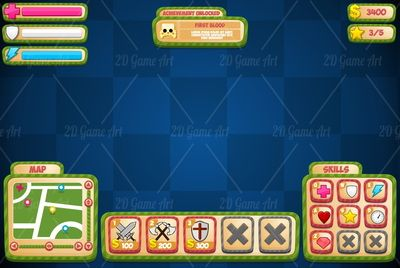 Casual Stripes - Game GUI - Game Art 2D