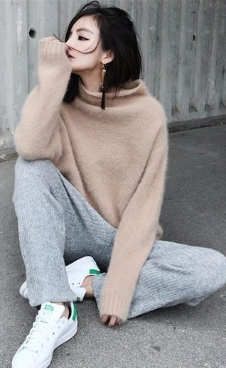 Grey Knit Loose Joggers: