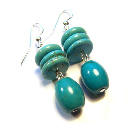 Stylish Handmade Magnesite Turquoise Gemstone Silver Tone Drop Earrings