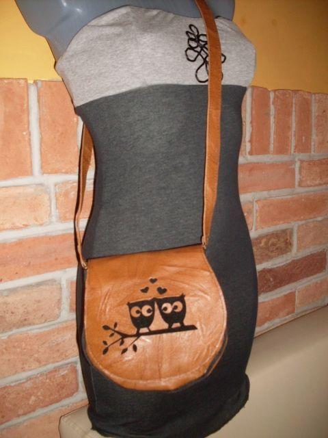 Baglyos bőr táska, Táska, Válltáska, oldaltáska, Barna bőrből készült bagoly áttört mintával díszített bőrtáska. Mérete : kb 20X18 cm  , 7 c...