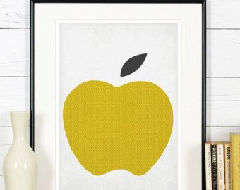Fruit retro poster kitchen art red apple minimalist by EmuDesigns